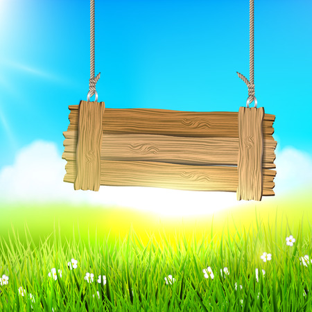 lensflare: Spring meadow with wooden sign Illustration