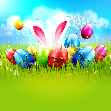 sweet grass: Sweet Easter background with colorful eggs in the grass