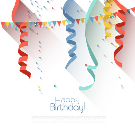 welcoming party: Birthday background eith colorful confetti - flat design style Illustration
