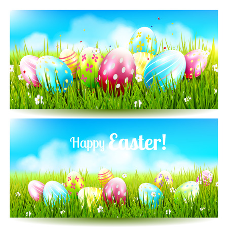 Sweet Easter banners with colorful eggs in the grass Vector