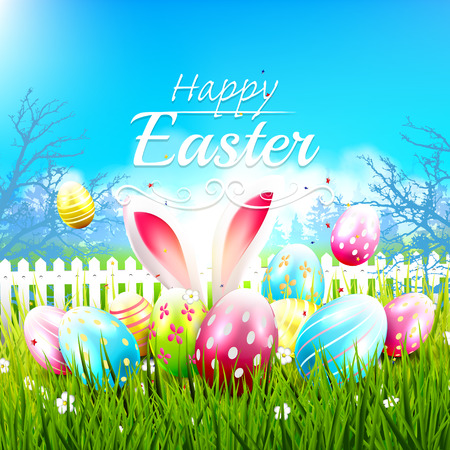 Sweet Easter greeting card with colorful eggs in the grass Vector