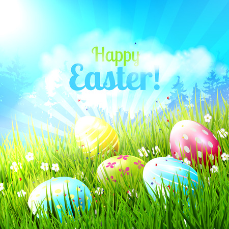 sweet grass: Sweet Easter greeting card with colorful eggs in the grass