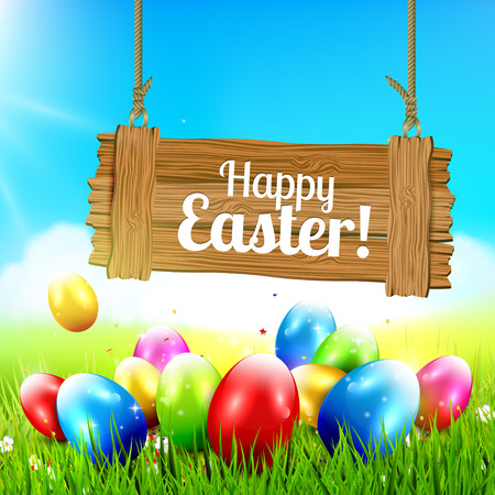 sweet grass: Easter greeting card with colorful eggs and wooden sign