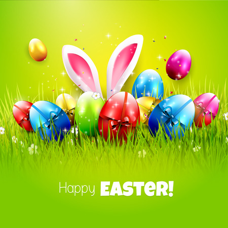 Húsvéti üdvözlőlap színes tojások és zöld háttér Illusztráció