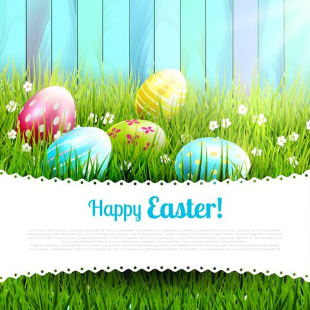 sweet grass: Sweet Easter greeting card with colorful eggs and place for your message