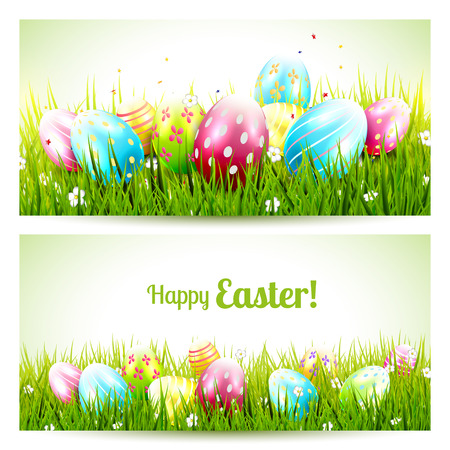 Vector set of two Easter banners with colorful eggs in the grass Vector
