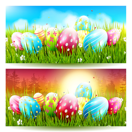 sweet grass: Sweet Easter banners with colorful eggs in the grass