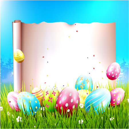 sweet grass: Easter background with colorful eggs and empty paper for your message