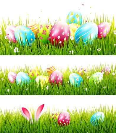 huevo: Conjunto de tres fronteras de Pascua con huevos lindos en hierba Vectores