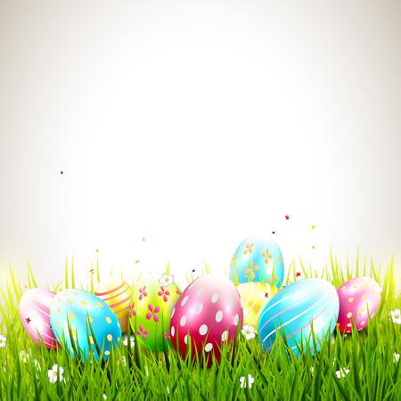 다채로운 계란과 copyspace와 달콤한 부활절 배경