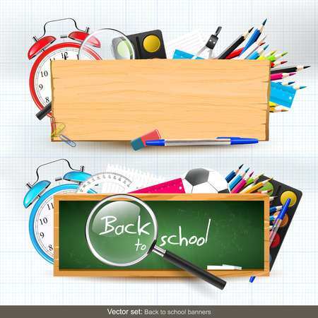 school frame: Vector set of two Back To School horizontal banners