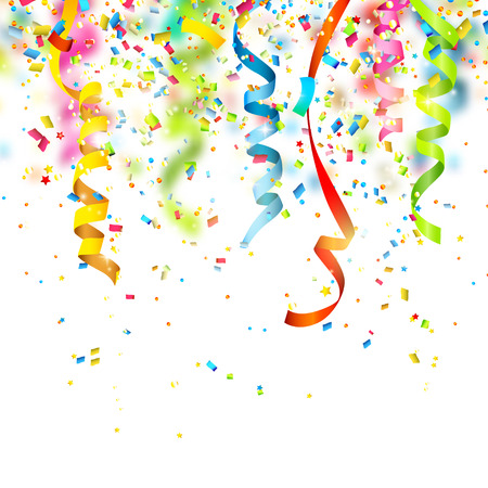 carnival party: Birthday background with colorful confetti
