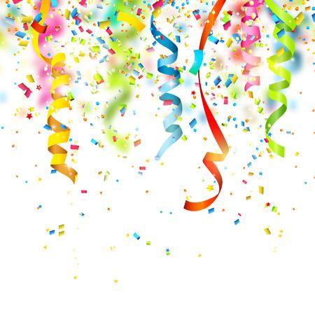 serpentinas: Fondo del cumpleaños con confeti de colores Vectores