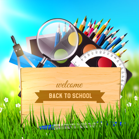 magnification: Back To School - wooden desk and school supplies in the grass. Vector poster
