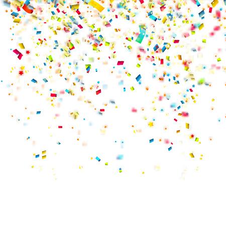 Verjaardag achtergrond met kleurrijke confetti Stock Illustratie