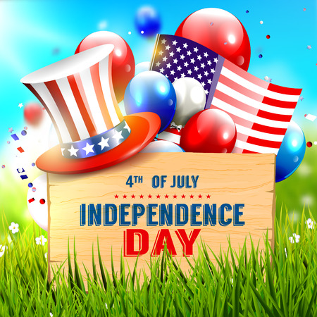 july 4th fourth: Independence day celebration - vector poster Illustration