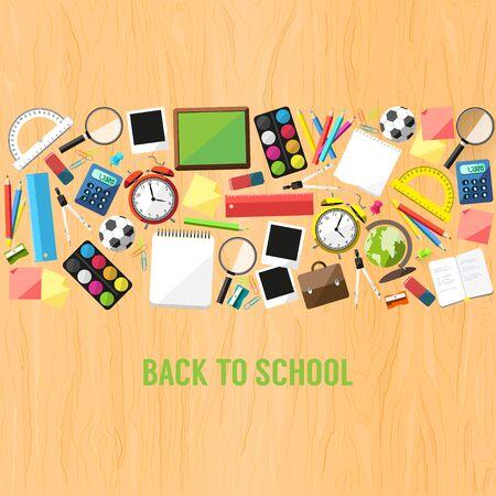 Ritorno a scuola stile piatto fondo creato da materiale scolastico