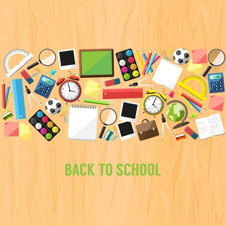 leveringen: Terug naar school vlakke stijl achtergrond gemaakt van schoolbenodigdheden
