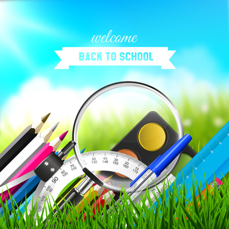 Back To School background with school supplies in front of blurred background Vector