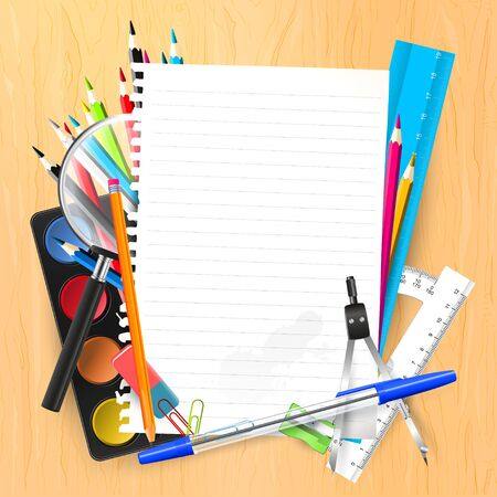 wooden desk: Empty paper and school supplies on wooden desk Illustration