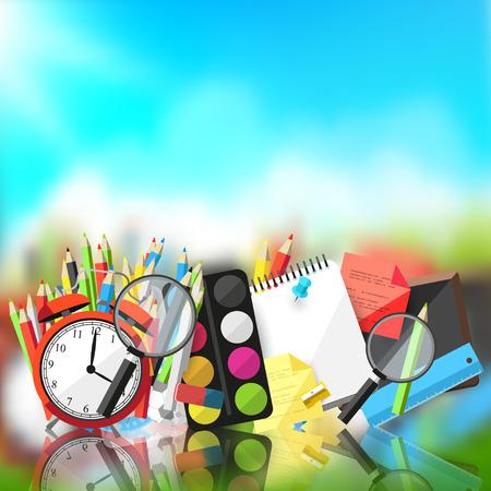 fournitures scolaires: Retour à l'école - Vecteur de fond avec des fournitures scolaires et le lieu pour le texte Illustration