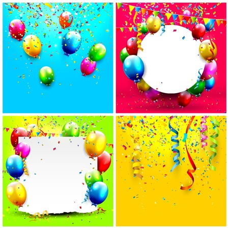 set of birthday backgrounds with balloons and confetti