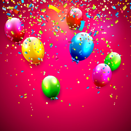blue party: Birthday balloons and confetti on red background