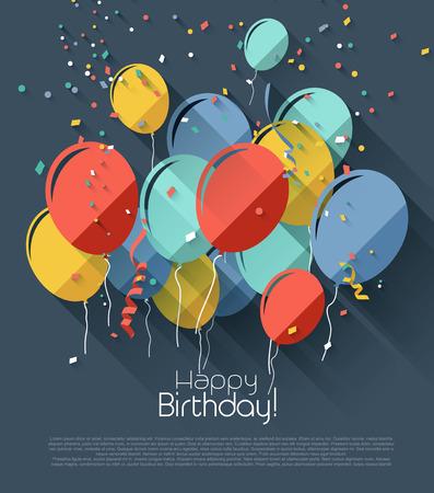 globos de cumpleaños: Tarjeta de felicitación de cumpleaños con globos de colores - estilo de diseño plano Vectores
