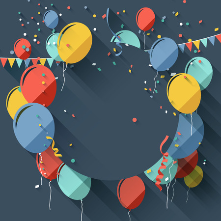 balloons celebration: Birthday greeting card with place for text - flat design style