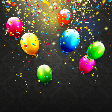 schwarz: Moderne Geburtstag Hintergrund mit bunten Luftballons und Konfetti