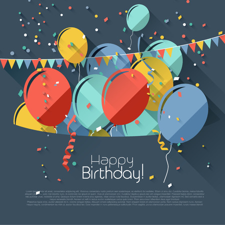 welcoming party: Birthday greeting card with place for text - flat design style