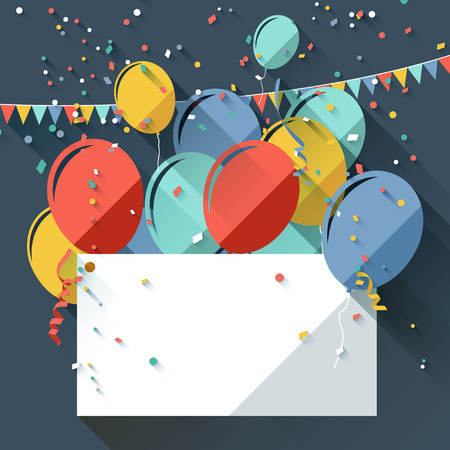 aniversario: Tarjeta de felicitación de cumpleaños con globos de colores y lugar para el texto - estilo de diseño plano Vectores