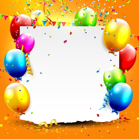 happy people: Birthday background with colorful balloons and place for your text