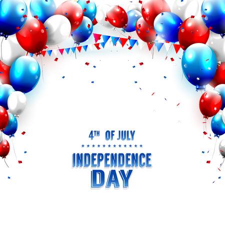 julio: Día de la Independencia - Tarjeta de felicitación con los globos en el fondo blanco Vectores