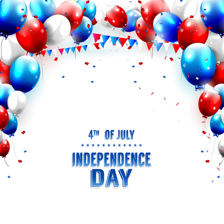 Independence day - greeting card with balloons on white background Çizim