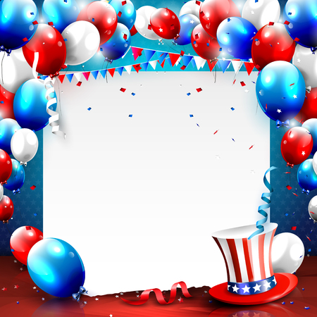 american background: Independence day - vector background with empty paper and balloons