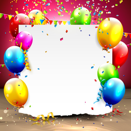 your text: Birthday background with colorful balloons and place for your text