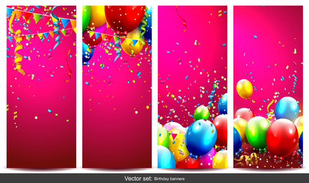 welcoming party: Vector set of birthday banners with colorful confetti and balloons
