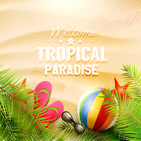 sunglasses recreation: Summer background with with palm leaves, beach ball, sunglasses and flip-flops on the beach - vector background