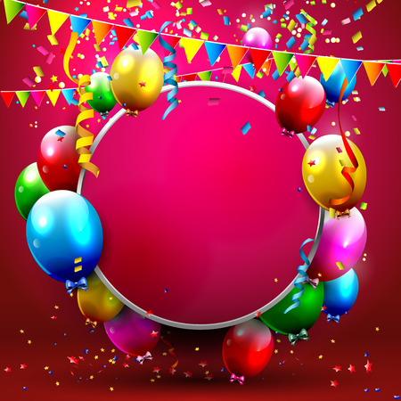 young people party: Colorful balloons and confetti - greeting card with place for your text