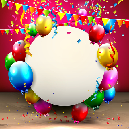 Colorful balloons and confetti - greeting card with place for your text Vector
