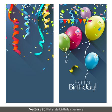 felicitaciones cumplea�os: Vector conjunto de banners de cumplea�os con confeti de colores y globos