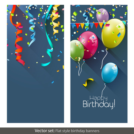 blue swirl: Vector set of birthday banners with colorful confetti and balloons