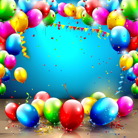 balloons: Birthday background with colorful balloons and place for your text