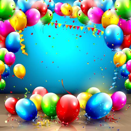 globos de cumpleaños: Fondo de cumpleaños con globos de colores y lugar para su texto Vectores