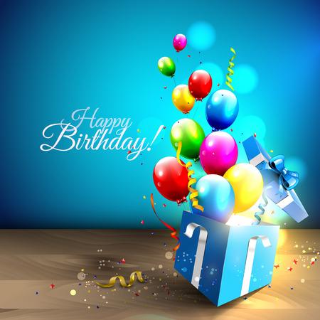Kleurrijke ballonnen en confetti vliegen uit geschenkdoos Stockfoto - 39788491