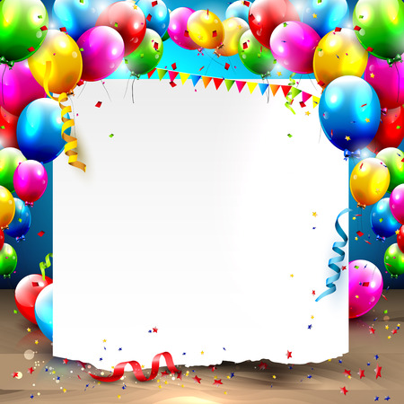 young people party: Birthday background with colorful balloons and place for your text