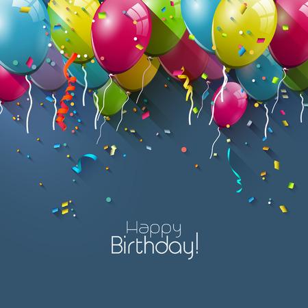 globos de cumpleaños: Tarjeta de felicitación de cumpleaños con globos de colores y lugar para su texto Vectores