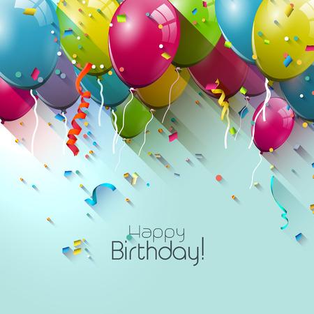 globo: Tarjeta de felicitaci�n de cumplea�os con globos de colores y lugar para su texto Vectores