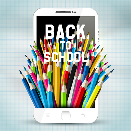 Colorful pencils and smartphone - back to school concept